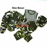 Setelan Baju Anak Army tentara Jaket Kaos Celana dan Topi.