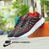 Sepatu Sport Nike Airmax 3D Skin - Hitam Merah - Casual Pria Wanita