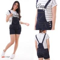 JSK 1737 Celana Pendek Baju Kodok Jeans Overall Short Jumpsuit Wanita