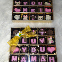 Coklat valentine design isi 25 by request tanda cinta dan ulang tahun