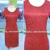 dress imlek / dress merah / dress brukat remaja / dress pesta murah