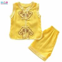 Shanghai Baju anak bayi laki 1 2 3 tahun setelan imlek cheongsam gold
