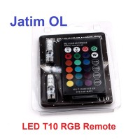 LED T10 RGB 5050 SMD Remote Lampu Senja Lampu Kota Motor Mobil