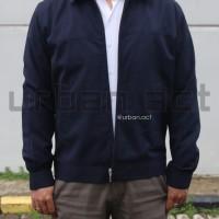 jaket jas zipper manset formal casual SLK warna navy biru tua dongker