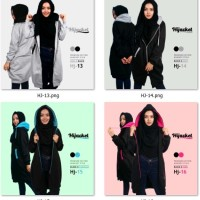 Jaket wanita hijaber jumbo XL ORIGINAL hijacket premium hoodie asli - Hitam