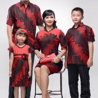 Hem Dress Alona Cheongsam Parang Merah Batik Couple Imlek Keluarga