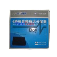 Souer 4 Load Audio Video Amplifier 1x4 Splitter AV Distributor 4 Ch