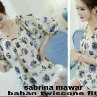 sabrina blouse bunga baju atasan wanita korea pundak bahu bolong