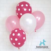Balon Latex Metalik Mix 10 pcs (metalik pink putih, polkadot pink)