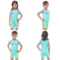Baju Renang Anak Lee Vierra Baby Shark Unisex Jumpsuit Kids Green