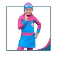 Baju Renang Muslimah Anak Sporte. CS-25 Blue Pink. Size M-XL