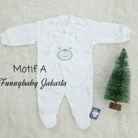 jumpsuit bayi putih polos / dress bayi putih polos / baju bayi