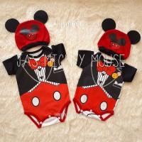 Set baju Jumper bayi mickey mouse baby jumpsuit free topi