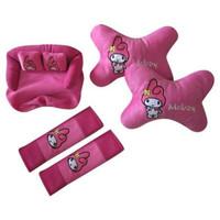 bantal sandaran kepala jok mobil cewek kartun boneka melody pink