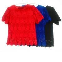 BI006 blouse brukat import big size jumbo | baju imlek adolfo merah