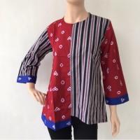 Baju blouse atasan lengan panjang batik cap katun primis wanita murah