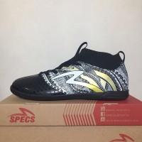 Premium Sepatu Futsal Specs Heritage IN Black Gold White 400750 Origi
