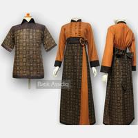 Baju Gamis batik Couple terbaru 2018 sepasang suami istri model SA-374