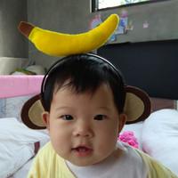 bandana bando headband anak baby monkey banana monyet pisang lucu unik