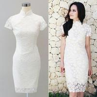 Baju Wanita Pakaian Perempuan Dress Brukat Poppy White New