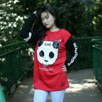 Baju Kick Out Panda Badan Merah/ Kaos Wanita Lengan Panjang Casual