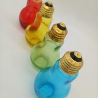Botol Kaca Bohlam Warna utk Minum Air Bentuk Lampu 100ML