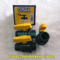 STOP KRAN PVC POLOS/BALL VALVE ONDA PVCBV 1/2 INCHI - 7150645