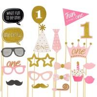 Set Photo Booth Props Baby 1st Year BIRTHDAY - Aksesoris Ulang Tahun