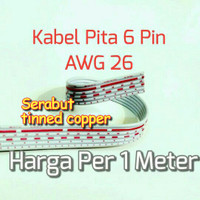 Kabel Pita 6 Pin Awg 26 Flat Cable 6Pin Jalur Pelangi Rainbow