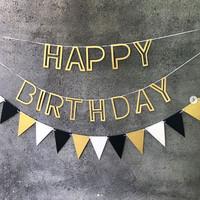 Balonasia Banner Hollow Happy Birthday Gold / Silver