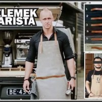 Apron Celemek Barista Barbershop Chef Koki Canvas Leather