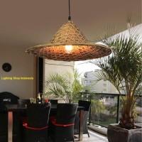 L763 Lampu gantung hias topi tani bambu gunung decor vintage lighting - 1pcs lampu