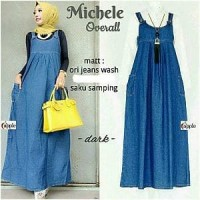 Michele Overal jeans baju jeans gamis jeans dress baju kodok wanita