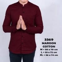 Kemeja pria baju hem cowok maroon navy hitam putih lengan Panjang ABG - Maroon, XL