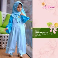 baju Jumpsuit muslim anak perempuan labella JR12 biru (3-6th)