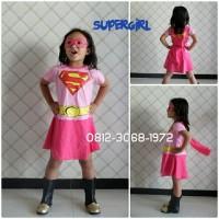 Baju Dress Kostum Karakter Superhero Girl SUPERGIRL Pink 6-9 Tahun