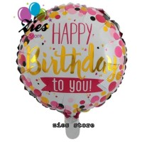 Balon foil happy birthday bulat / happy birthday to you pink polkadot