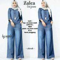 baju wanita remaja dewasa zalea setelan jeans muslim simple modis lucu
