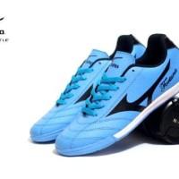 Sepatu Olahraga Futsal Mizuno Fortuna Biru List Hitam Import