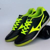 Sepatu Olahraga Futsal Mizuno Fortuna Hitam List Hijau Import