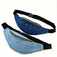 waistbag wanita pria unisex waist bag denim jeans wash kanvas kain