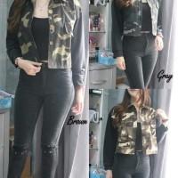 armi jaket baju outer luaran wanita loreng army doreng jacket crop
