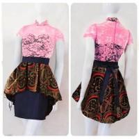 dress brokat batik elegan/baju remaja/dres kantor/kerja/gaun pesta/jln