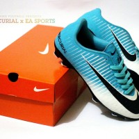 Sepatu Sepak Bola Nike Mercurial Biru Putih Import