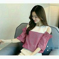 Blouse Wanita Baju Atasan Fashion Salur Vila Merah Baha Limited
