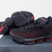 sepatu basket anak gs nike lebron 16 black red grade original murah