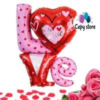 Balon Foil Love Besar 2 Susun / Foil Tulisan Love / Balon Hati