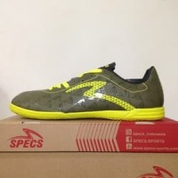 BESTSELLER!!! Sepatu Futsal Specs Quark IN Olive Zest Green Original