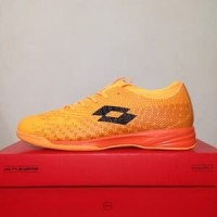 CATYCATZ!!!! Sepatu Futsal Lotto Spark IN Beat Orange Black Original
