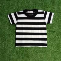 Baju Kaos Tshirt Stripe Stripes Belang Salur Garis Hitam Putih Anak Ba